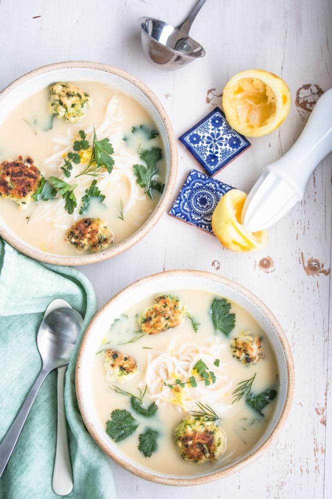 chicken-lemon-soup-with-meatballs-greek-style